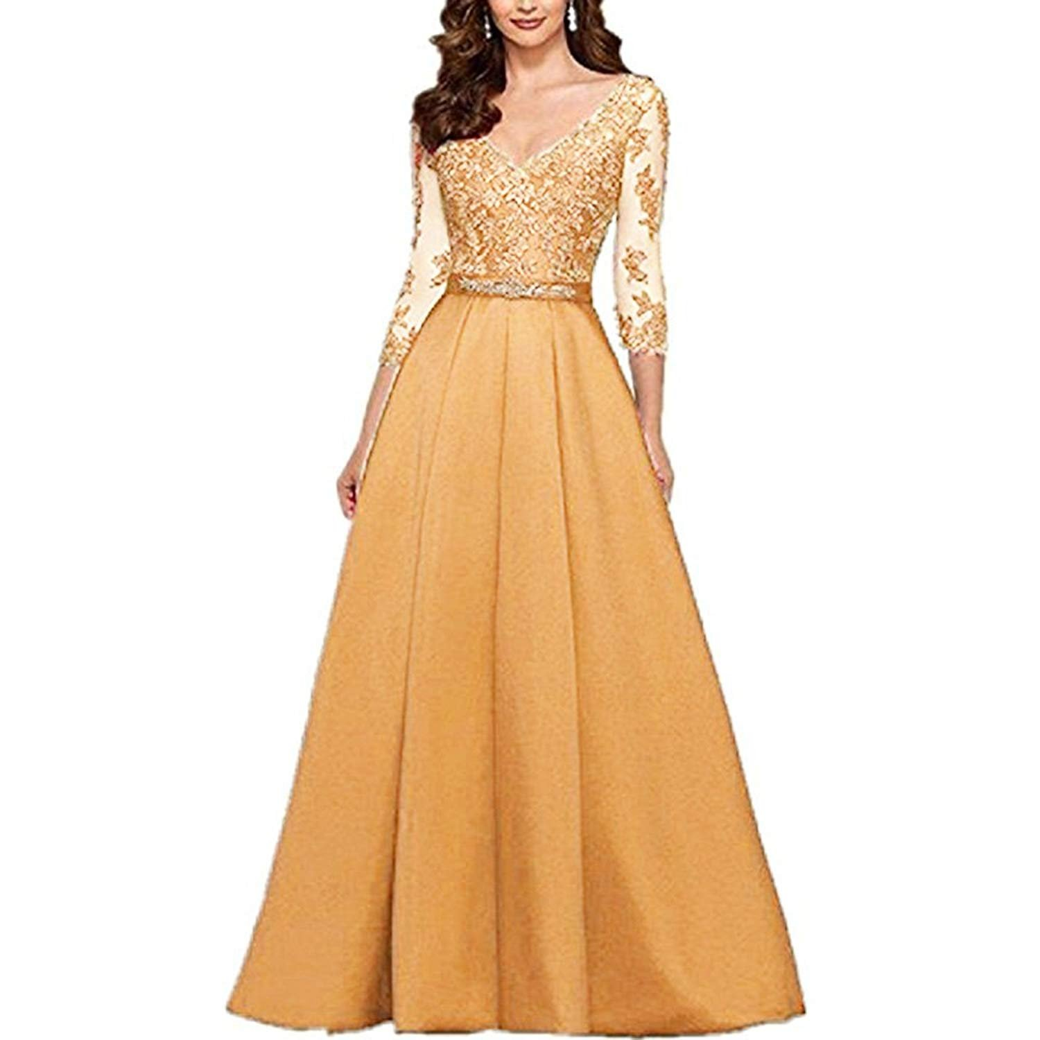 ynqnfs Women's V-Neck 3/4 Sleeves Prom Dress Lace Long Mother of The Bride Dresses