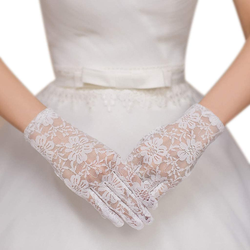 bluederst Womens Vintage Crocheted Gloves Bridal Wedding Lace Wrist Length Gloves