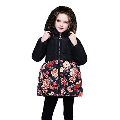 7fc217bff1fb7 GoodLock Clearance!! Baby Girls Coats Toddler Kids Floral Flower Winter  Warm Jacket Hooded Windproof