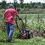"Earthquake 28463 m205 trimmer with 150cc 4-cycle viper engine walk behind string mower, red/black 6 powerful - powered by a strong, yet quiet, 150cc 4-cycle viper engine. The earthquake m205 walk behind string mower chops down your unsightly weeds and stubborn brush with ease. The large 14-inch wheels allow you to float through thick grass, weeds, brush, nettles, and other foliage too difficult for push mowers to overcome. Durable - our one-piece steel deck provides strength and stability while reducing vibration. Super tough nylon line has a cutting swath of 22"" to get the job done quickly. Never kill engine: unlike many competitive units, our engine will continue to run when the cutting head is disengaged so you can safely and easily remove sticks, branches or other obstacles without having to re-start the engine, saving time and frustration."