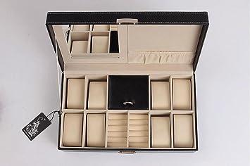 L-life Cajas giratorias Joyero, joyero Organizador de Almacenamiento Pendientes Caso con Espejo para Viajes portátil en casa, Negro: Amazon.es: Hogar