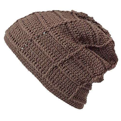 CHARM Mens Summer Beanie Cotton - Womens Crochet Slouch Cap Hand Made Chemo Hat Light Brown (Crochet Hat Beanie Cap)