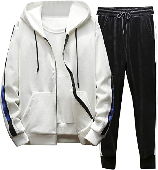 929a772763 Andopa Men Velour Active with Zips 2 Piece Set Leisure Tracksuit Set ...
