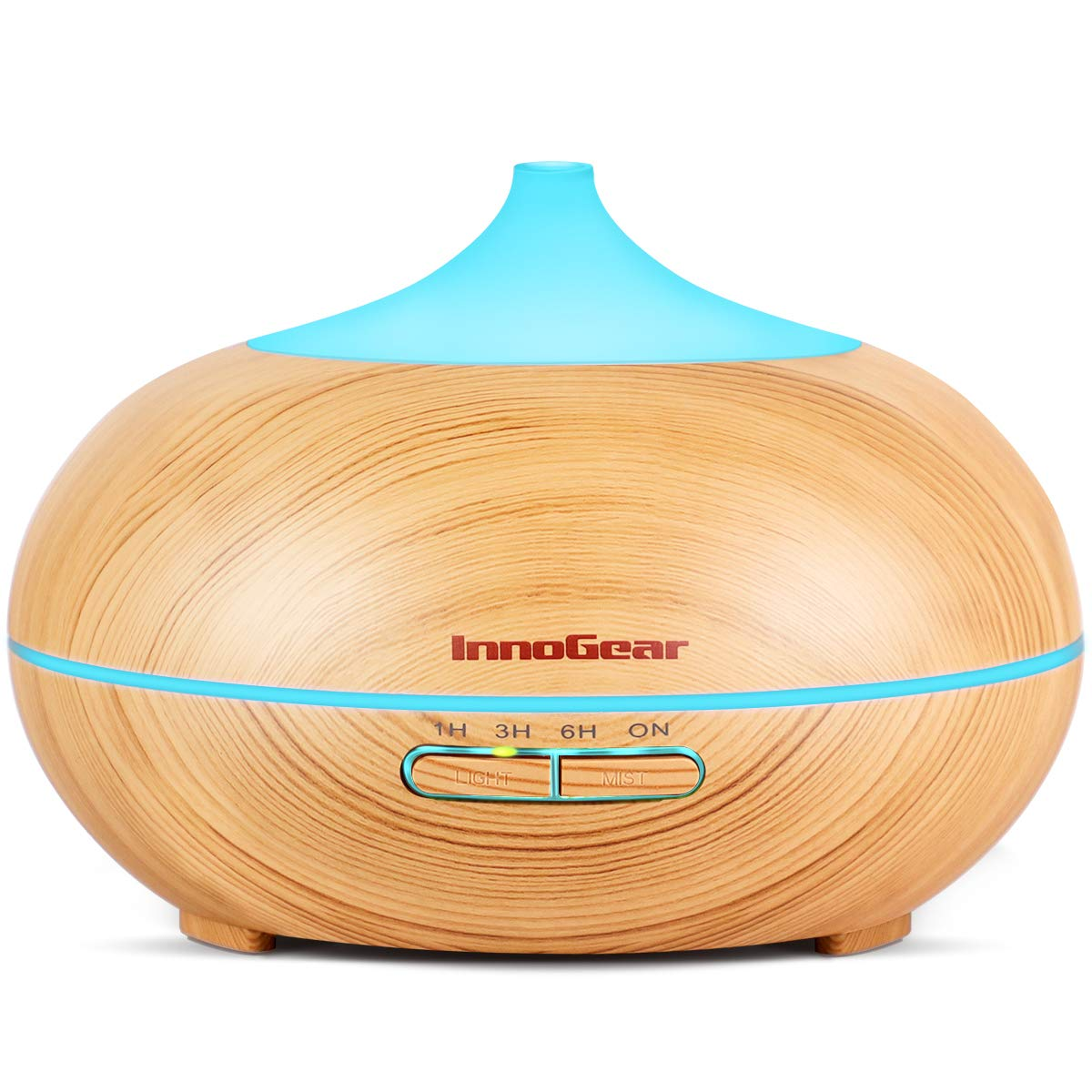 InnoGear 300ml Aromatherapy Essential Oil Diffuser Wood Grain Aroma Diffusers Cool Mist Humidifier with Timer Adjustable Mist 7 Color Changing Night Lights Waterless Auto Shut-off