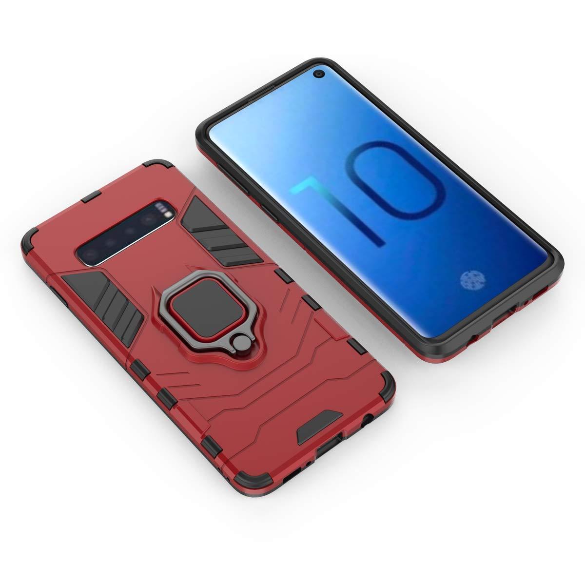 2X Vidrio Templado Silicona Doble Caja Protectora A Prueba de Golpes+Soporte de Anillo Magn/ético,PC+TPU Anti-ca/ída Caso-Negro LsYun Funda Compatible para Samsung Galaxy A30S//A50//A50S Carcasa