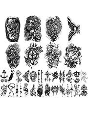 Yazhiji tatuaże tymczasowe z 32 arkuszami, 8 arkuszy imitujących ciało, ramiona, klatkę piersiową, ramiona, ramiona, dla mężczyzn i kobiet, z 24 arkuszami malutkich czarnych tatuaży.