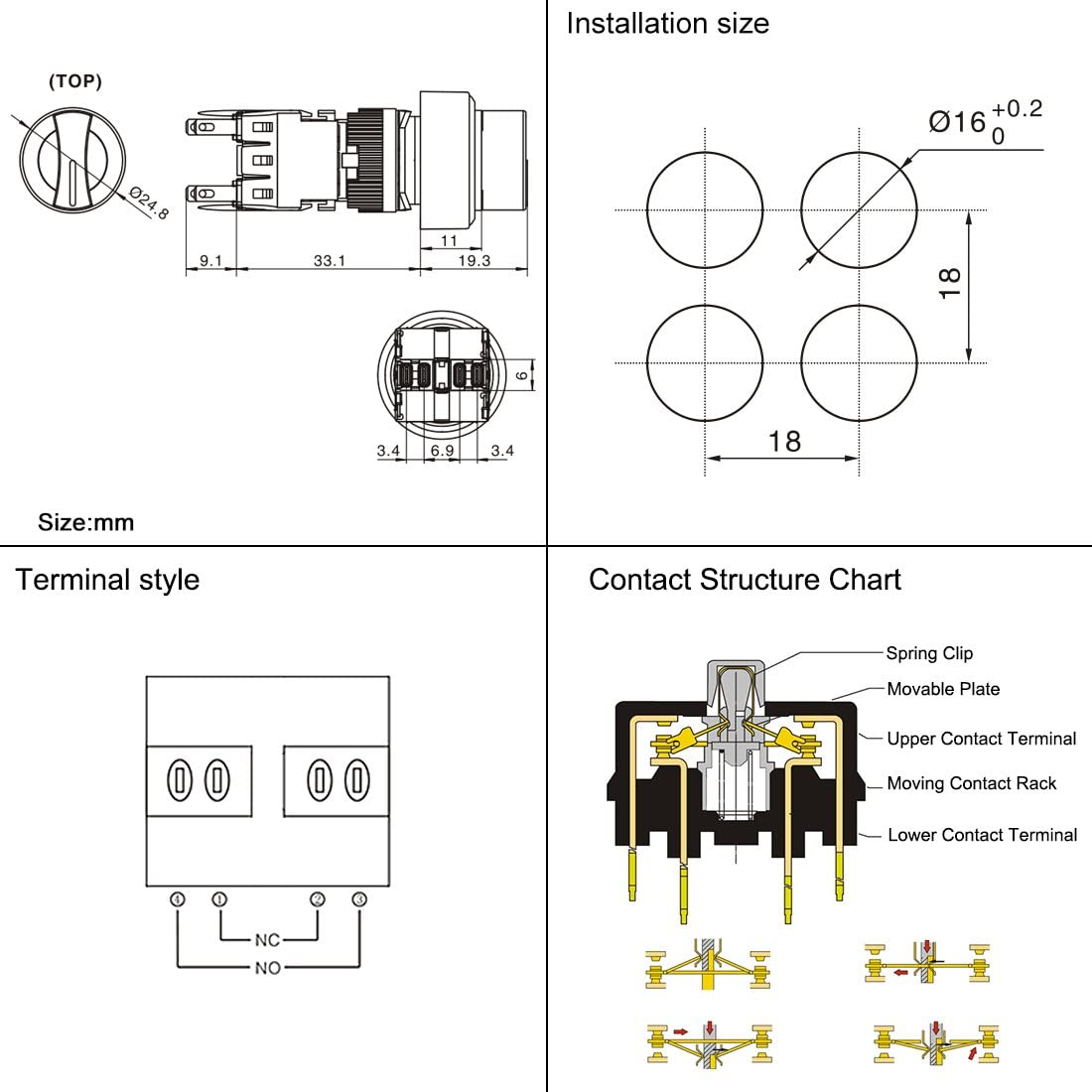 uxcell Latching Rotary Selector Switch AC 250V 0.5A 16mm Panel Cutout Dia DPDT 2NO 2NC 1//0//2 3 Position Round Head 8 Terminals