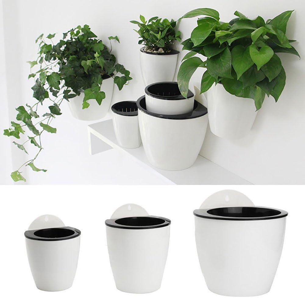 Kalaokei Creative D/écoration murale /à suspendre Pot Auto Absorber leau Pot de fleurs Home Decor Cadeau Blanc//noir Small