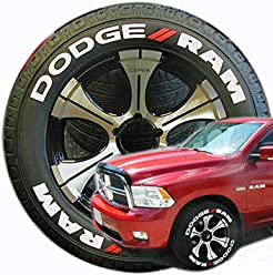 tirestickers dodge ram truck tire lettering accessory kit easy diy permanent glue on rubber with