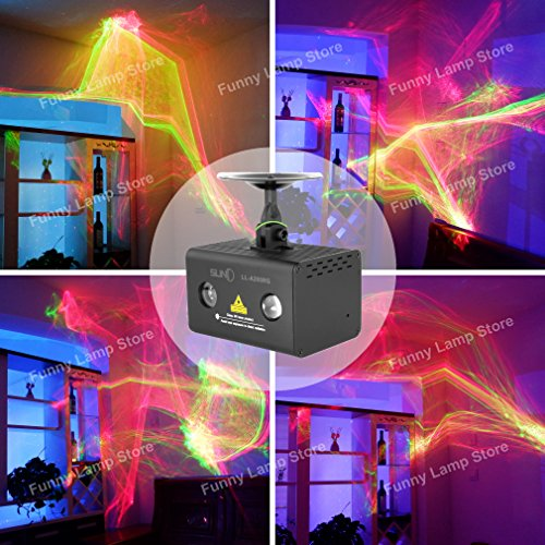 SUNY LL-A200RG Aurora Laser Red Green Color Galaxy Wavy Full LED Light Stage Lighting Projector DJ Home Xmas Christmas Decoration Party Holiday (RG Aurora)