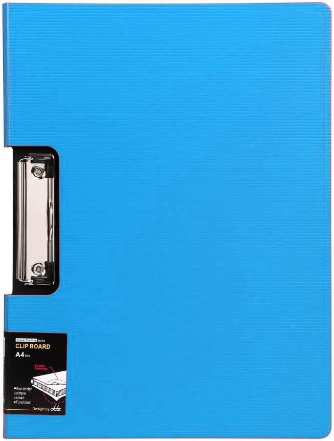 File Cover Folder Clipboard, Profile Clip File Folder, 360 Degree Flip Writing Pad, PP File Clipboard for A4 and Letter Size Business, Office, School Papers - Vertical, Blue