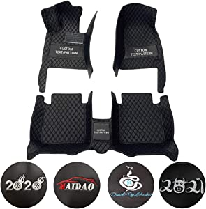 Custom Car Floor Mats for Fiat 500 2011-2012 Hatchback Can Be Customized for 99% of Car Models Waterproof Non-Slip Leather Liner Set Black