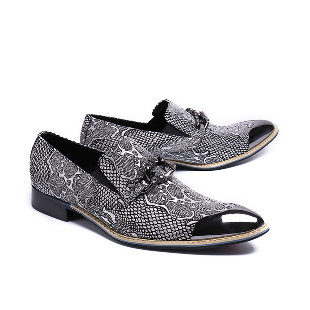 GLSHI Mens Leather Shoes Spring Summer Low-Top Loafers /& Slip-Ons Metallic Toe For Casual Party /& Evening