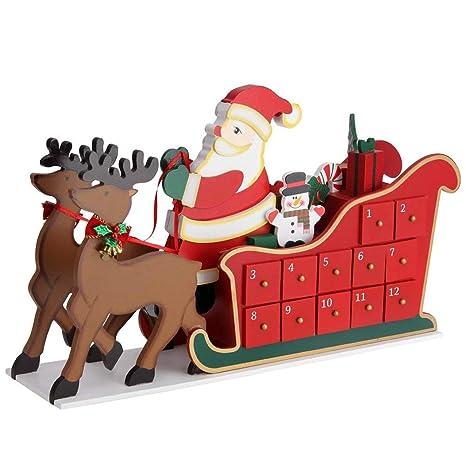 Slitta Babbo Natale Immagini.Bakaji Calendario Dell Avvento Slitta Babbo Natale In Legno Con 24 Cassetti Sorpresa Numerati Decorazioni Addobbi Natalizi
