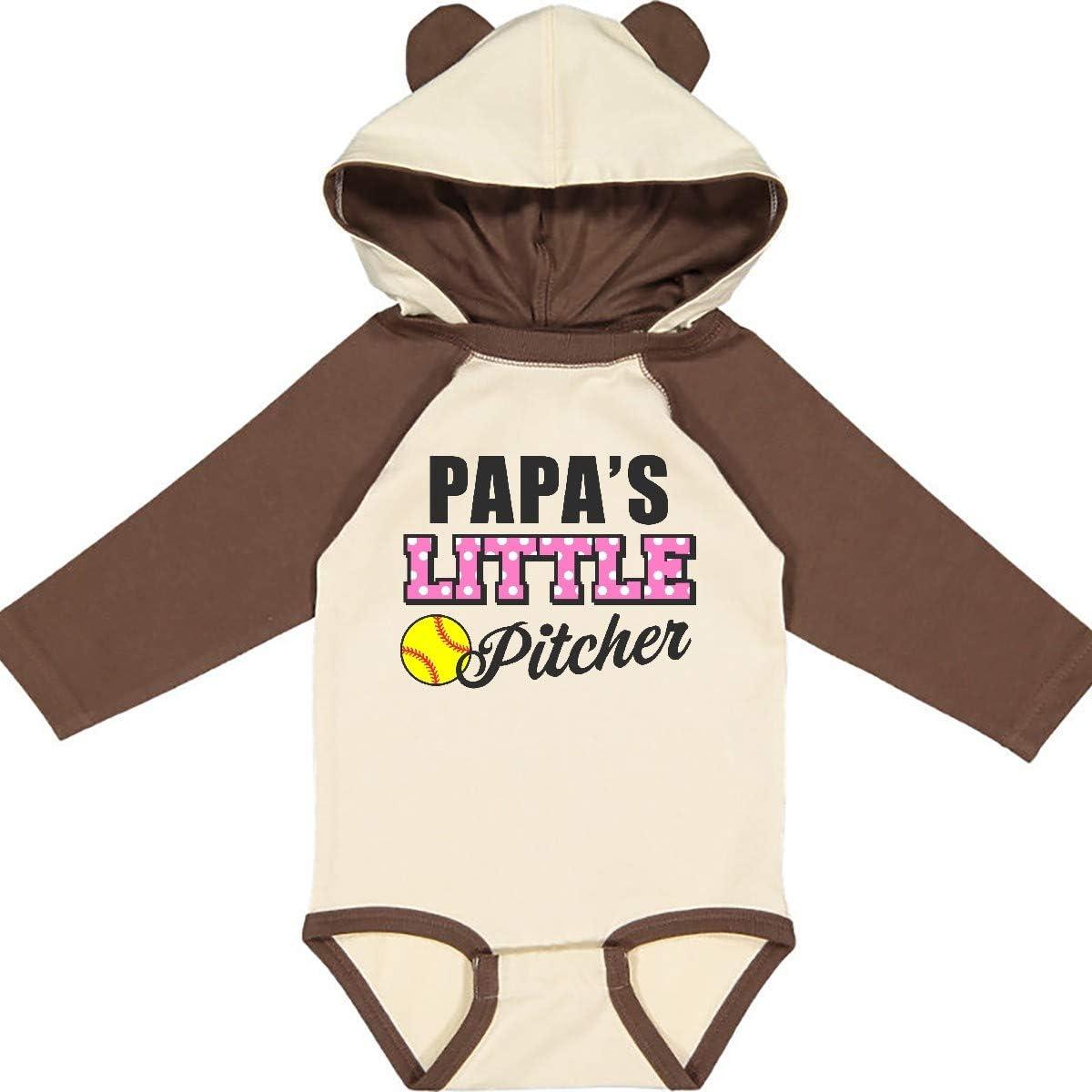 inktastic Papas Little Pitcher Softball Long Sleeve Creeper