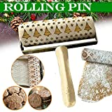 Nesee Wood Rolling Pins for Baking Embossed Professional Dough Roller for Cookies with Patterns
