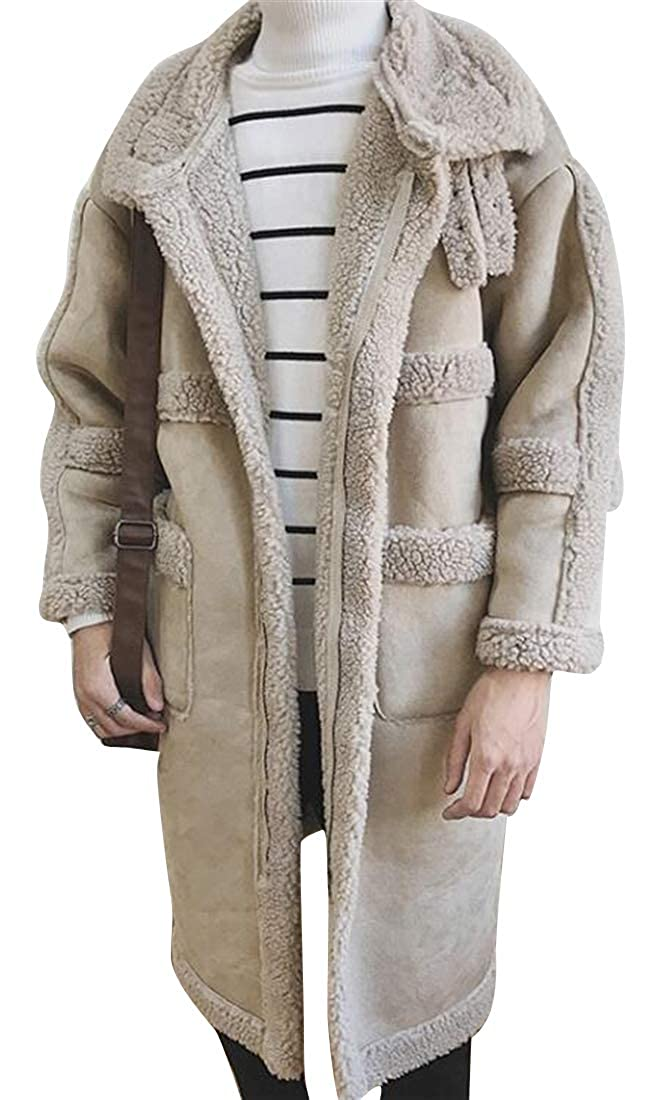 DFBB Mens Pu Leather Winter Mid Length Thicken Warm Lamb Wool Lined Quilted Jacket Coat Overcoat