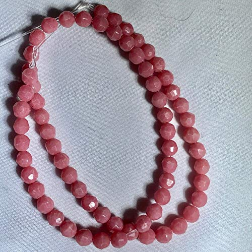 (Rare 6 Faceted Pink Rhodonite 4mm Round Beads for Jewelry Making 009011)