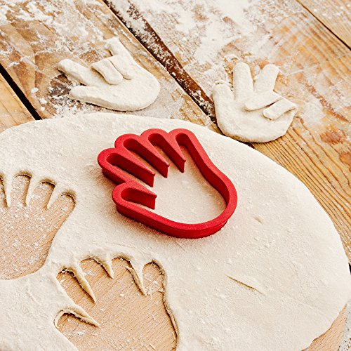 SUCK UK Hand Shaped Cookie Cutter-Novelty Accessory to Make Customised Bakes, Red