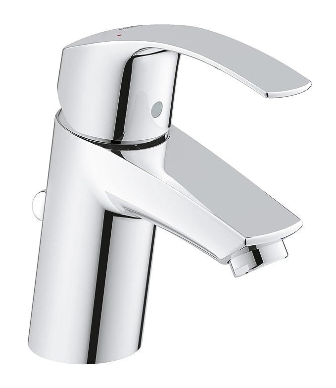 Grohe Eurosmart - Grifo de lavabo, con vaciador automático, caño estándar, con limitador ecológico de caudal y temperatura (Ref. 32926002)