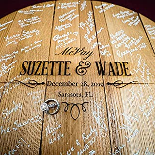 product image for WhiskeyMade Personalized Wedding Guestbook Alternative - Solid Wooden Centerpiece Made from a Real Bourbon Whiskey Barrel Head - Beautiful Decoration for Weddings - Made in The USA (Contemporary)