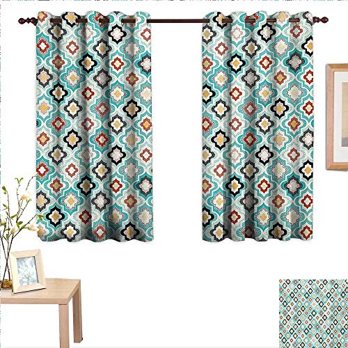 MartinDecor Geometric Drapes for Living Room Vintage Ottoman Style Floral Design with Old Fashion Heraldic Tiles Artistic Image 55