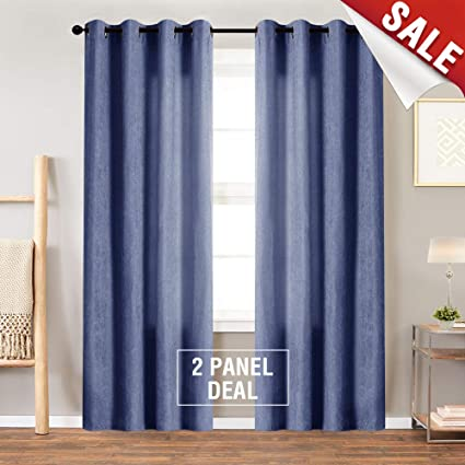 Jinchan Luxry Blue Velvet Curtains For Living Room Thermal Insulated Grommet Window Curtain Set