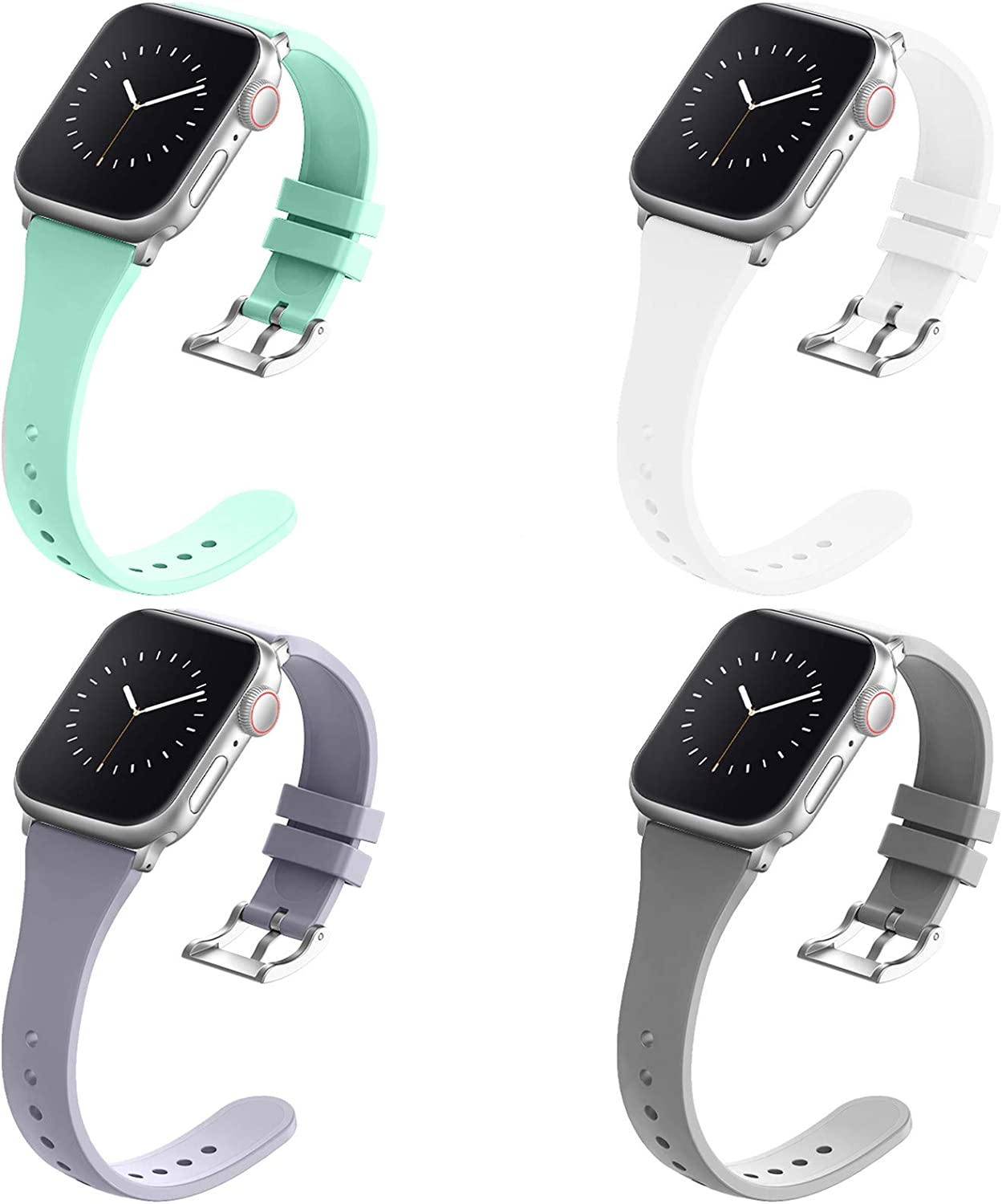Adepoy Compatible with Apple Watch Bands 38MM 40MM 42MM 44MM for Women Men, Soft Silicone Narrow Slim Replacement Sport Wristbands for iWatch Series 6 5 4 3 2 1 SE