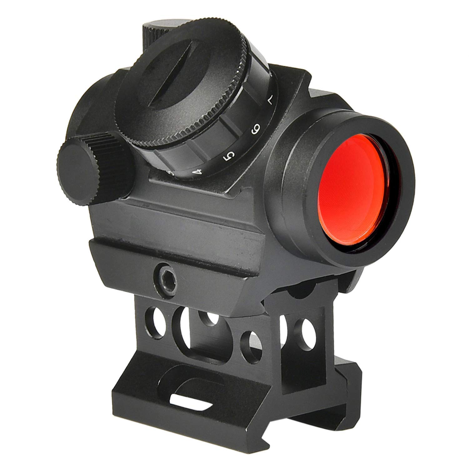 MidTen 2MOA Micro Red Dot Sight 1x25mm Reflex Sight Waterproof & Shockproof & Fog-Proof Red Dot Scope, Mini Rifle Scope with 1 inch Riser Mount, Black by MidTen