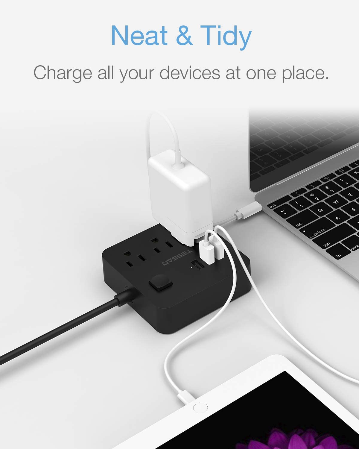 Office Black TESSAN 9.8 ft Long Flat Plug Power Strip with 3 AC Outlet Compact Desktop Charging Station 125V 10 A for Home Extension Cord with USB Ports