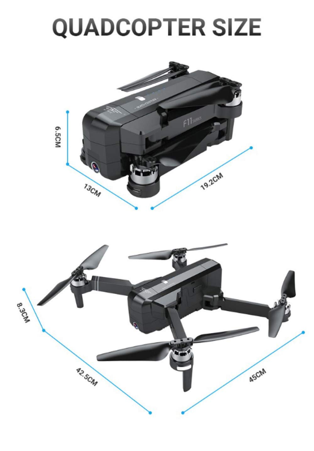 Cywulin RC Quadcopter Foldable Drone 1080P HD 5G WiFi FPV Camera Live Video, Brushless Motor, GPS Auto Return Home, Follow Me, Long Control Range, Altitude Hold, Intelligent Modular Battery (Black) by Cywulin (Image #6)