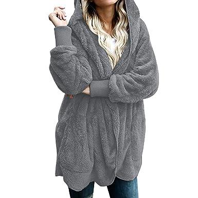 Cardigan Donna Invernale,MEIbax Giacca Pelliccia in Pile Cappotti Casuale Capispalla Sciolto Cappotto Donna Invernale Caldo Spessa Parka Cardigan