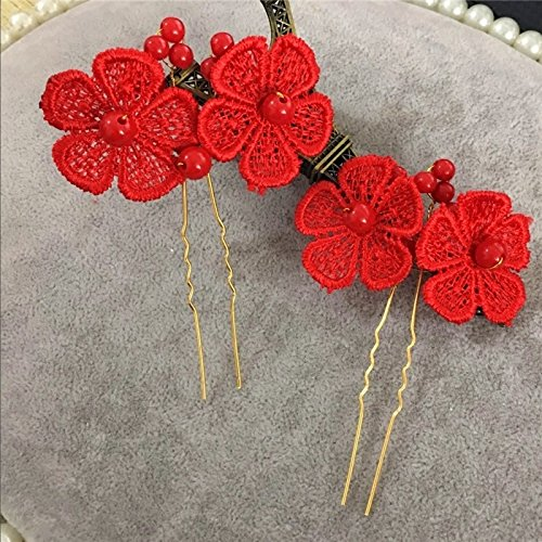 - Bob bride classic red lace bead type Pin Xiu toast clothing apparel goods of marriage headdress hair accessories for women girl lady