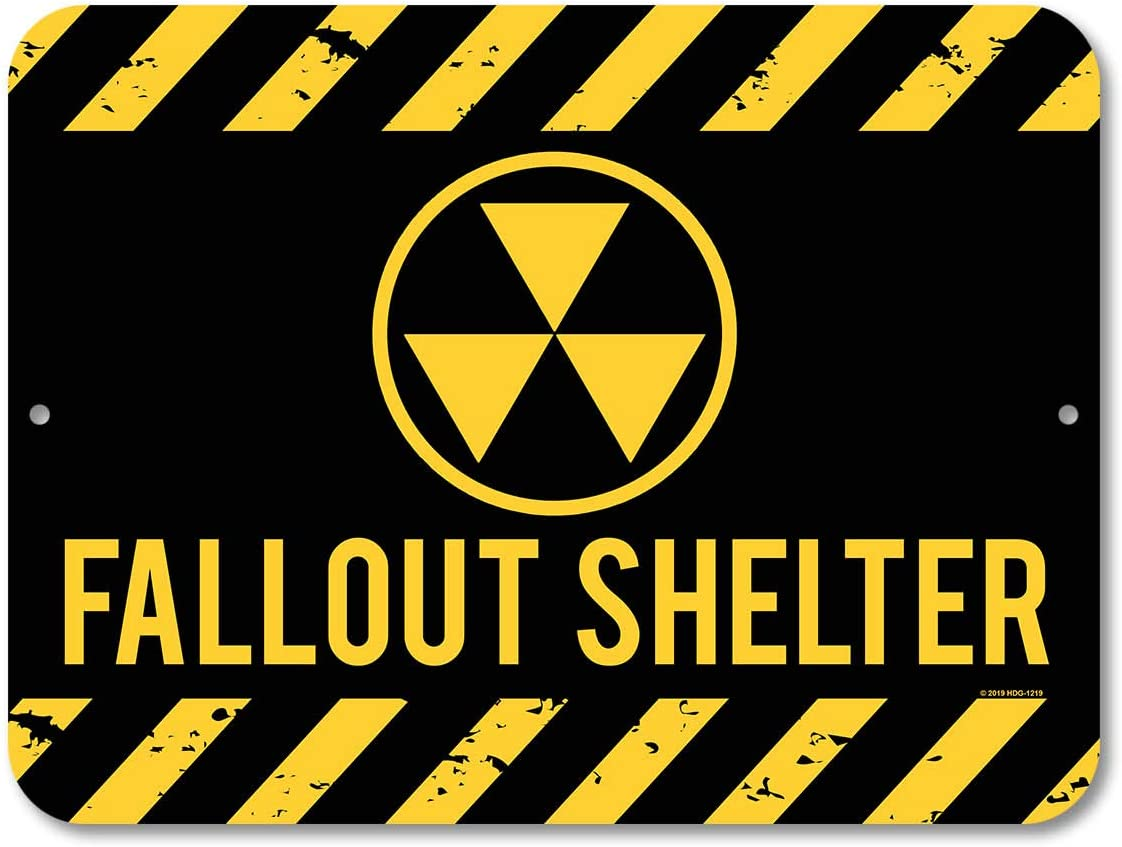 Honey Dew Gifts Metal Decor, Fallout Shelter 9 inch by 12 inch Metal Aluminum Signs, Made in USA