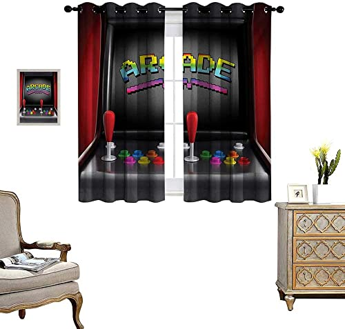 Video Games Window Curtain Fabric Arcade Machine Retro Gaming Fun Joystick Buttons Vintage 80s 90s Electronic Drapes for Living Room W55 x L63 Multicolor