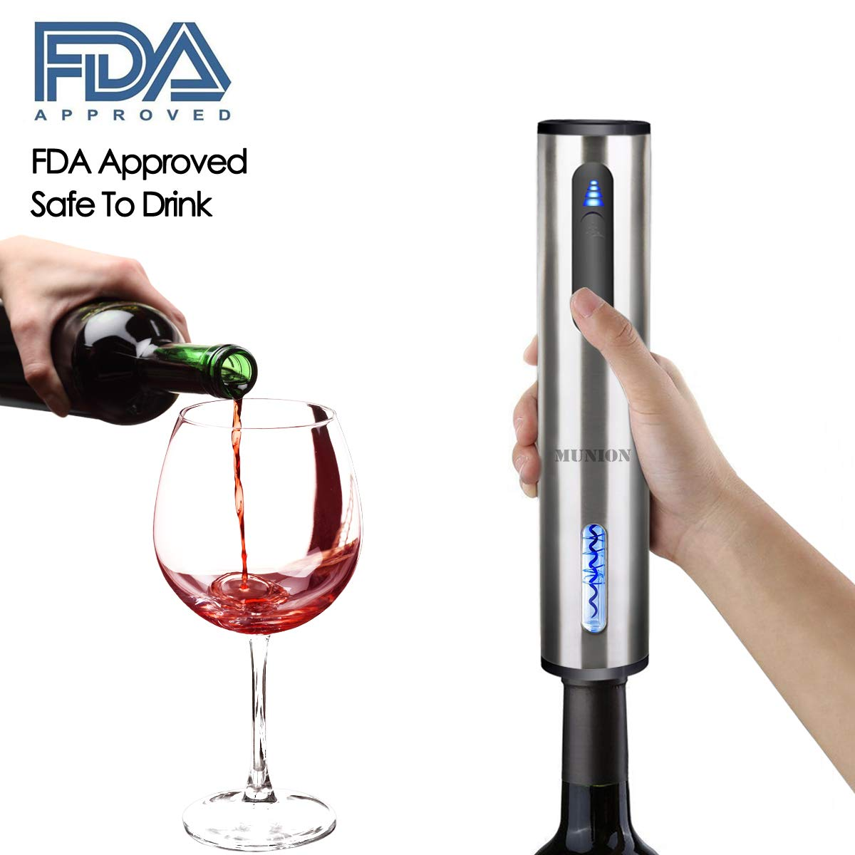 Electric Wine Opener Automatic Corkscrew Rechargeable Cordless Wine Bottle Opener with Removeable Foil Cutter Silver Wine Corkscrew by MUNION (Image #6)