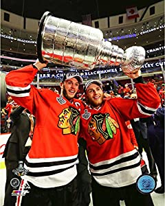 Jonathan Toews & Patrick Kane Chicago Blackhawks 2015 Stanley Cup Trophy Photo