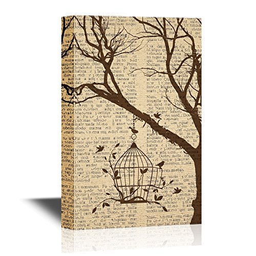 Art Wall Cage (wall26 Canvas Wall Art - Birds and Bird Cage Hanging on a Tree Branch - Gallery Wrap Modern Home Decor | Ready to Hang - 16x24 inches)