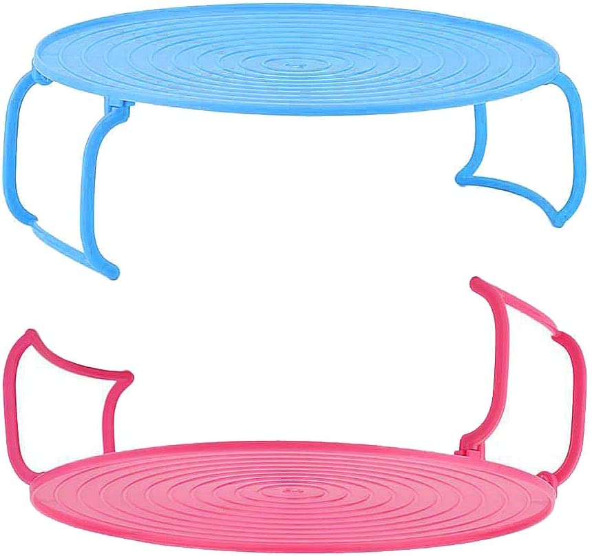 RMISODO 2 Pieces 3 in 1 Microwave Plate Stacker Plastic Multi-Functional Microwave Rack Tray with Handle Cooking Equipment Accessories