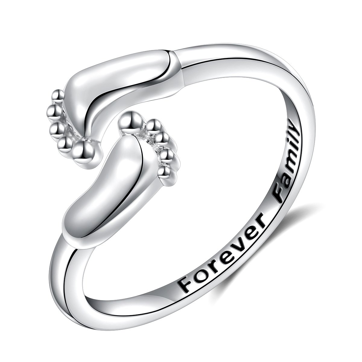 LINLIN FINE JEWELRY Baby Feet Ring 925 Sterling Silver Forever Family Engraved Mother's Love Cute Adjustable Open Ring Gift for Women, Size 7