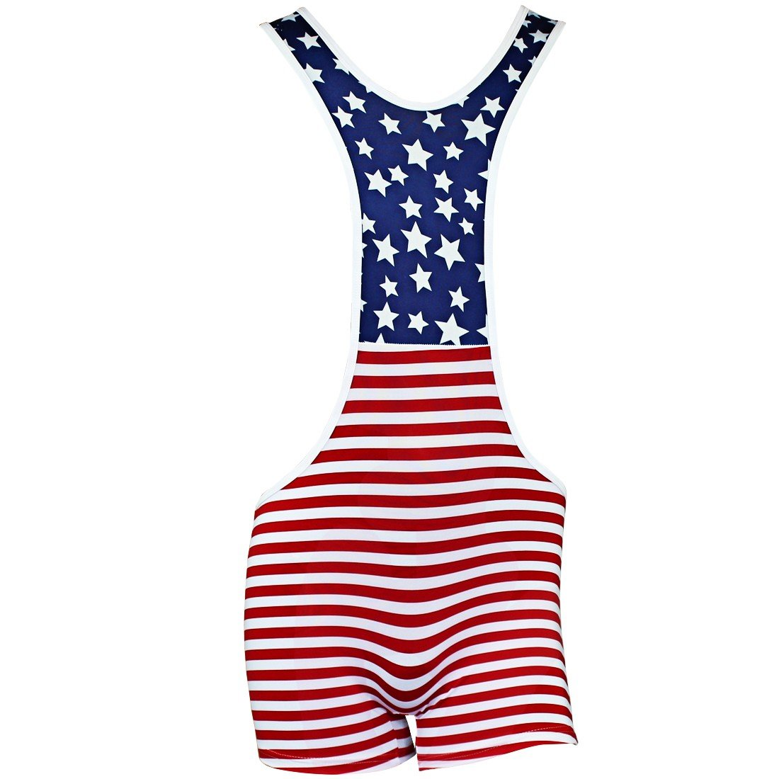 TiaoBug Mens Smooth Freestyle Wrestling Singlet Mankini US Flag Pattern Bodysuit Blue, Red Large