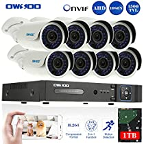 OWSOO 8CH 1080N/720P Onvif 1TB DVR Kit with 8PCS 720P Night Vision Built-in Waterproof LED High Resolution Outdoor/Indoor 1500TVL IR Cameras Surveillance CCTV Security Camera System