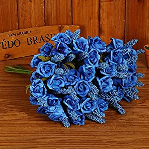 Nyalex Roses 6 Colors Lavender Rose Mixed Decorative Flowers 6 Heads Bouquet Artificial Flower For Home Office Wedding Decor [Blue] 110