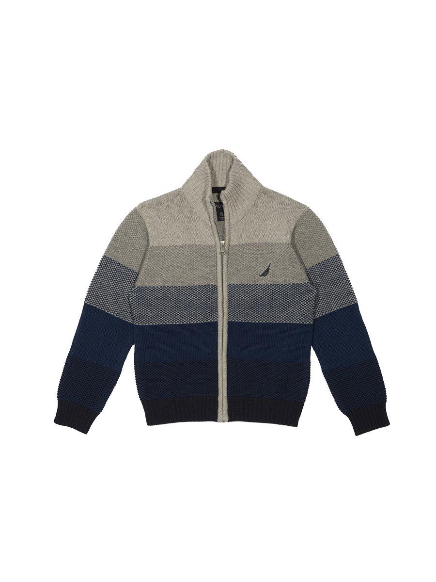 Nautica Boys' Big Textured Block Stripe Full Zip Sweater, Grey Heather, X-Large (18/20)