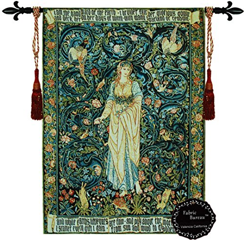 Decor Plus the Flora By William Morris Tapestry Jacquard Woven Wall Hanging Tapestry Lady Flowers Medieval(yw72) ()