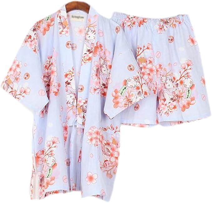 Las mujeres del estilo japonés de algodón fino albornoz pijama Kimono camisa corta traje, J15: Amazon.es: Ropa y accesorios