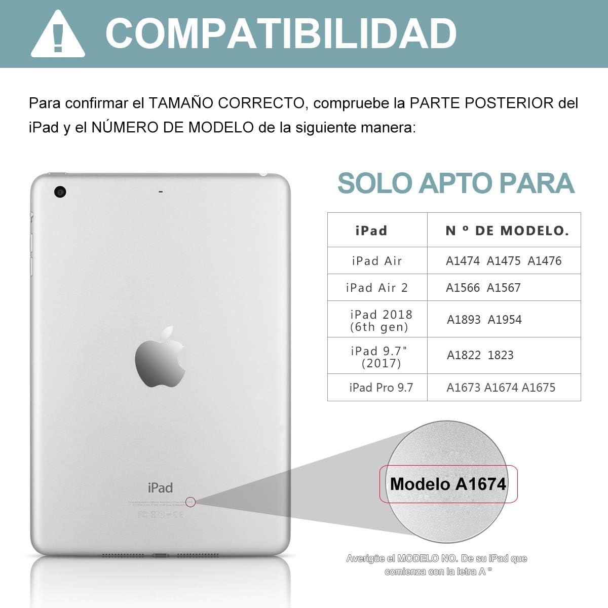 Funda Teclado iPad 9.7, Funda iPad 2018 con Ranura para Lápiz y Teclado Español (Incluye Letra Ñ) Bluetooth para iPad 2018/iPad 2017/iPad Pro 9.7/iPad ...