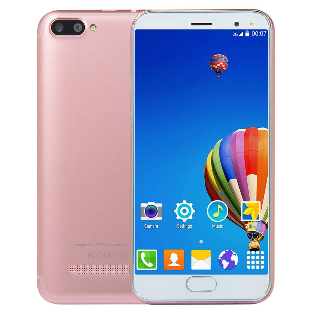 Unlocked 5.0 inch Dual HD Dual SIM Camera Smartphone Android 6.0 1G+4G Extended Memory 32G WiFi GPS Call Mobile Phone (Rose Gold)