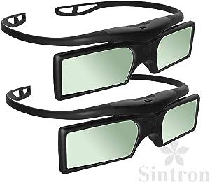[Sintron] 2X 3D RF Glasses Eyewear for Sony Panasonic Samsung 3D TV, Compatible with TDG-BT500A TDG-BT400A SSG-5100GB TY-ER3D4MU (2 Pairs)