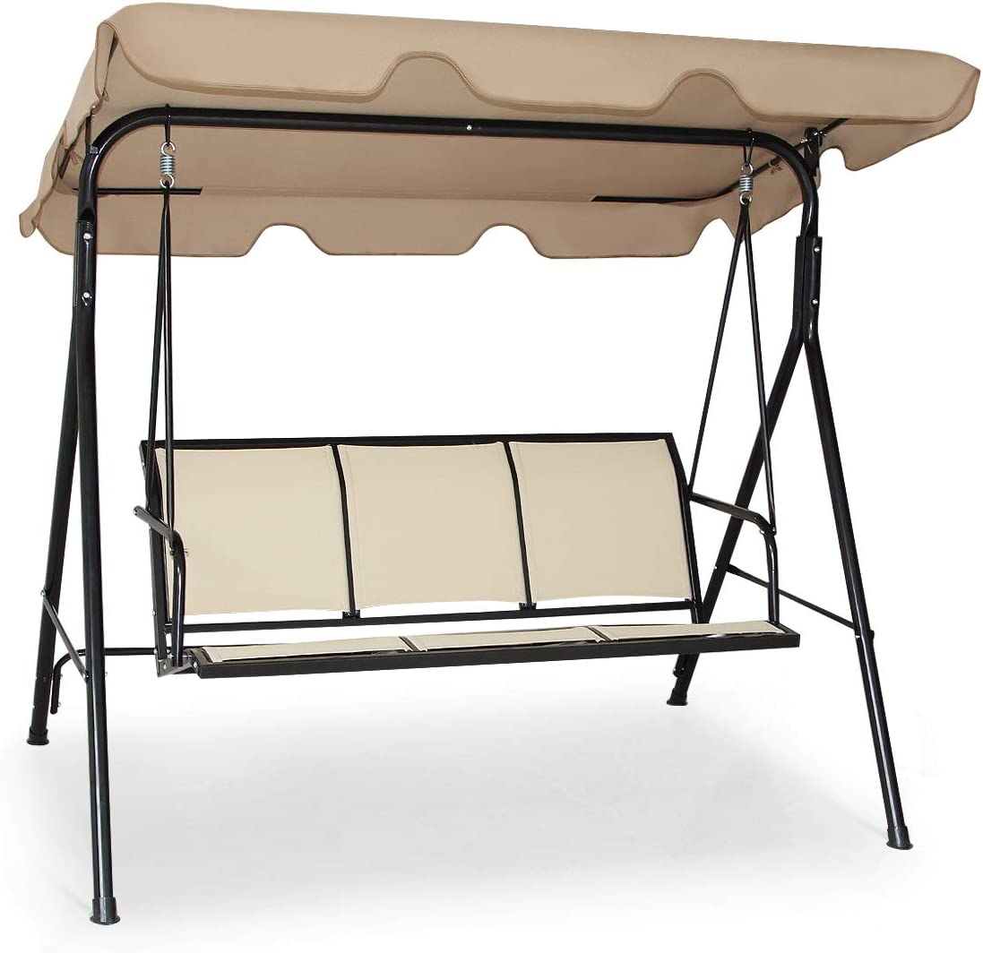 Tangkula 3 Person Patio Swing, Steel Frame with Polyester Angle Adjustable Canopy, All Weather Resistant Swing Bench, Suitable for Patio, Garden, Poolside, Balcony Brown